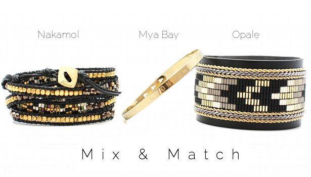 Mix & Match www.lilishopping avec un bracelet wrap Nakamol, un jonc gravé plaqué or Mya Bay et une manchette en cuir perlée Opale