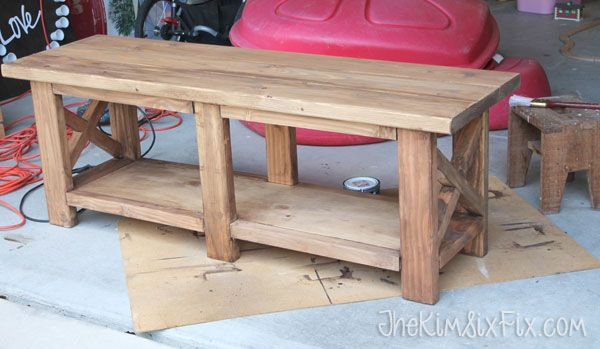 X leg wooden bench with crate storage for under 40 for Wood crate bench