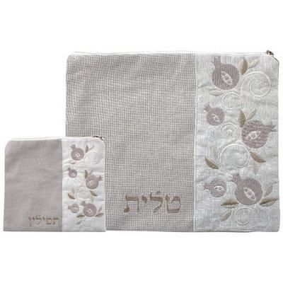 Linen Talit- Tefilin Set 36*29 Cm, Beige With Embroidery- Pomegranate