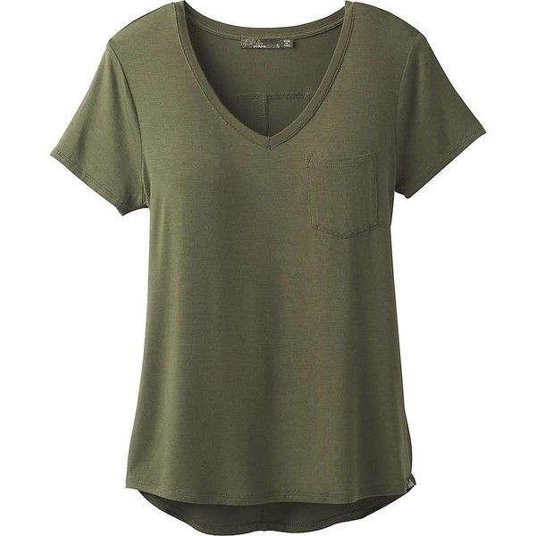 Prana Women's Foundation SS V Neck Top (2,120 DOP) ❤ liked on Polyvore featuring tops, t-shirts, shirts, t shirt, cargo green, green shirt, v-neck tee, lightweight t shirts, v neck tee and pocket tees
