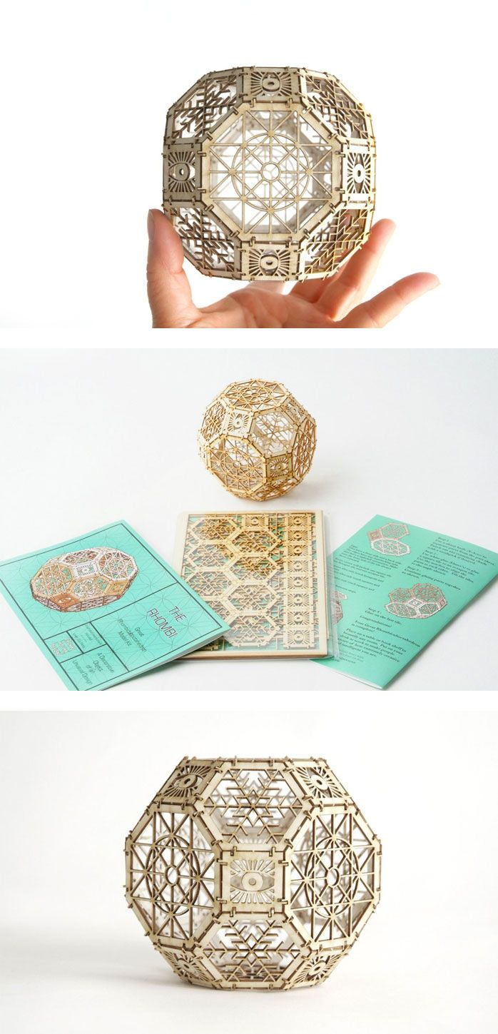 """In addition to being a creative DIY project, the Great Rhombicuboctahedron Model Kit doubles as an epic tongue twister. Carefully designed by architect Thomas Houha and rendered in sturdy matboard, the Great Rhombicuboctahedron (""""Rhombi"""" for short) is based on the ancient principles of sacred geometry."""