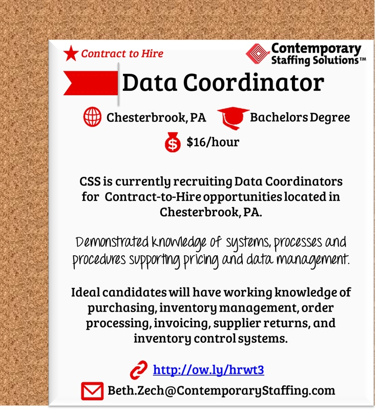 CSS is #hiring Data Coordinators in Chesterbrook PA l $16\/hr l - how to email a resume