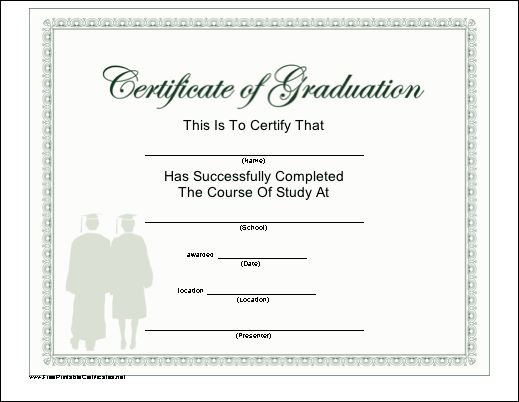 This diploma for completion of a course of study shows two graduates in shadow, complete with caps and gowns. Free to download and print