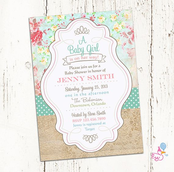 Shabby Chic Baby Shower Invitations floral digital gender