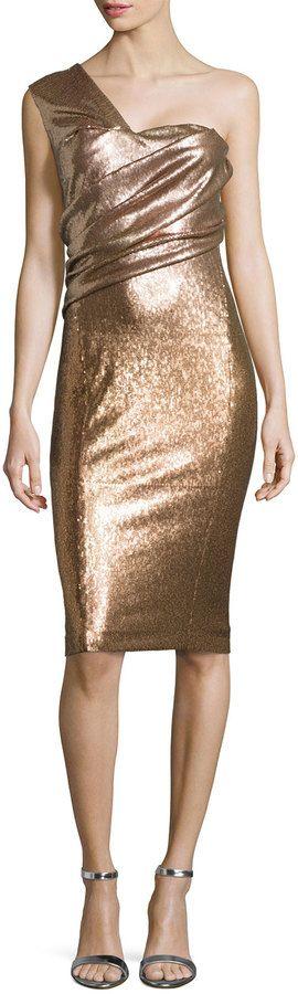 Donna Karan One-Shoulder Sequined Cocktail Dress, Pale Nude #fashion #CocktailDres #style OneShoulder