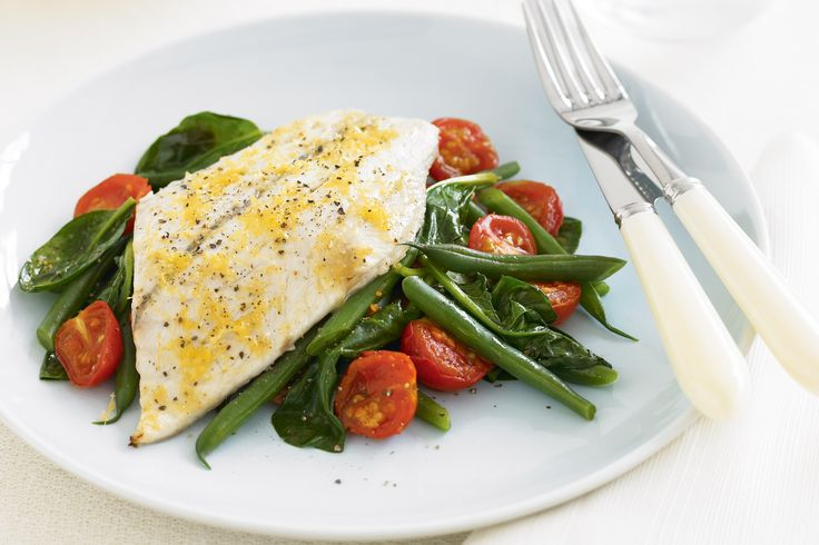 Pick up your favourite white fish for this zesty lemon fish with sauteed beans and tomatoes for a light, healthy and delicious Wednesday night meal.