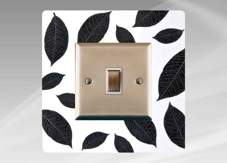 light switch surround finger plate panelwhite black leaves free uk postage