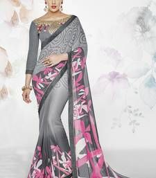 Buy Grey printed georgette saree with blouse georgette-saree online