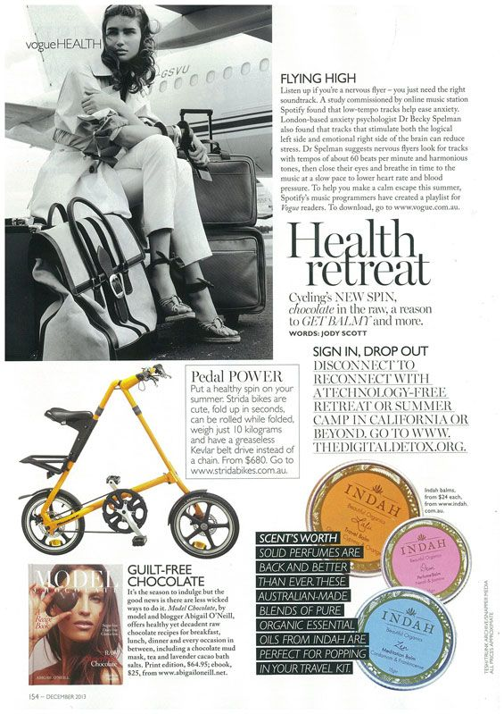 Model Chocolate in the Health section of Vogue Australia, the perfect healthy Christmas treat!