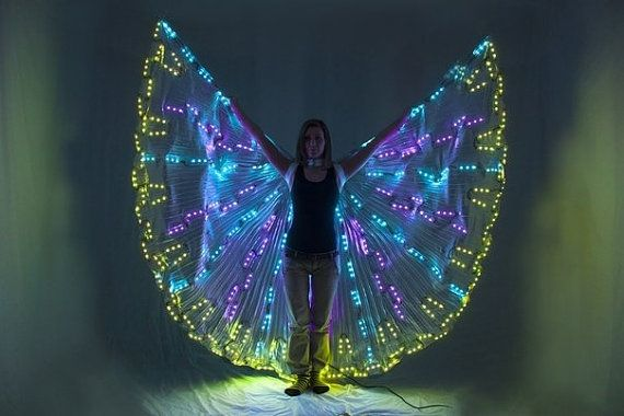 LED Isis wings are an interseting idea and probably not that hard to make. Halloween fairy costumes just got more interesting... and safer.