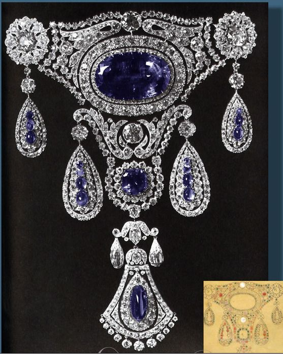 Tsar nicholas gave this magnificent sapphire brooch with pendant to his wife in 1825.