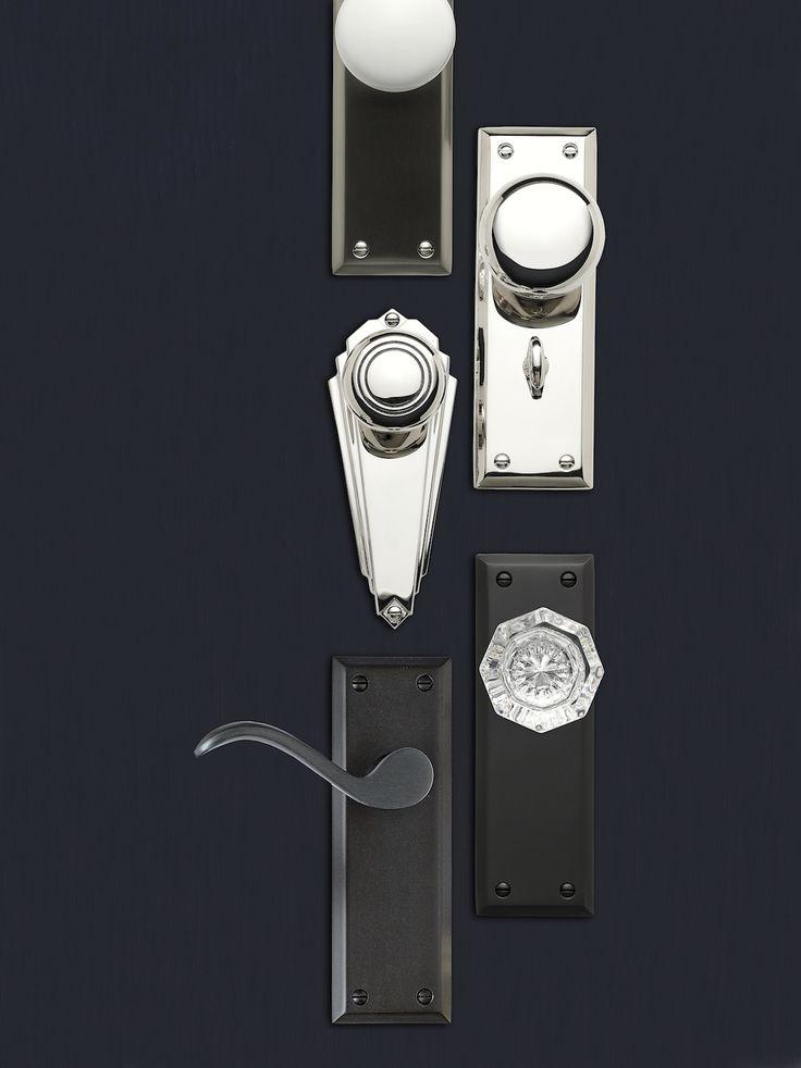 Door sets. Door hardware. Exterior door sets. Door inspiration. Door knobs. Door handles. Crystal door knob. Polished nickel finish.