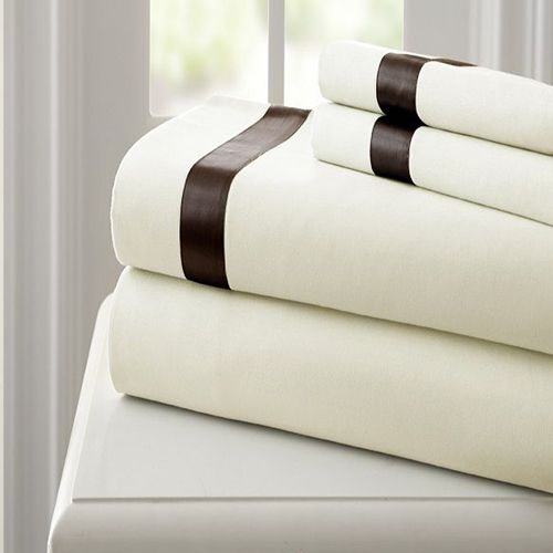 Fine Linens Ivory and Mocha Four-Piece 400 Thread Count California King Sheet Set - (In No Image Available)