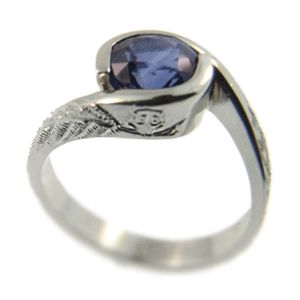 Platinum & Ceylon Sapphire Ring, engraved with owl detail, handmade at Cameron Jewellery