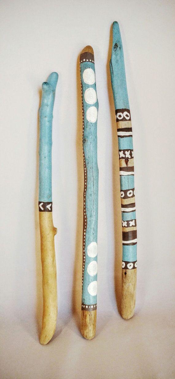 Palillos de madera pintados Costa Azul Set de 2
