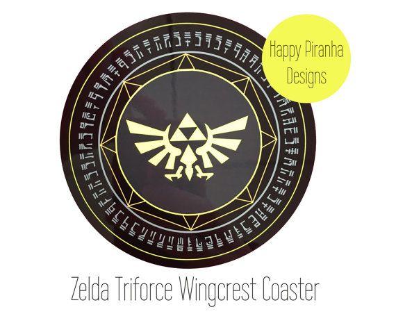 Legend of Zelda Triforce Coaster - Legend of zelda Wingcrest - Zelda Nintendo - premium cork backed coaster - Nintendo 64 - Super smash bros