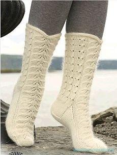 Красивое вязание | Ажурные носки спицами