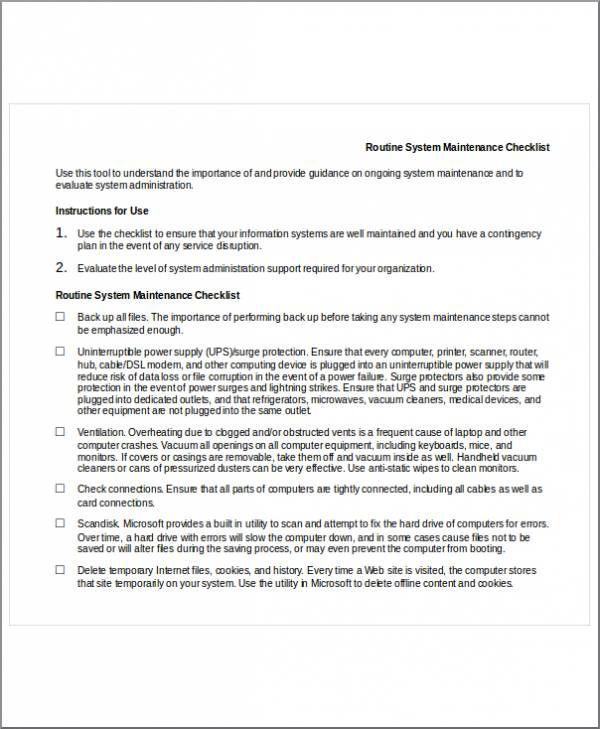 Word Checklist Templates
