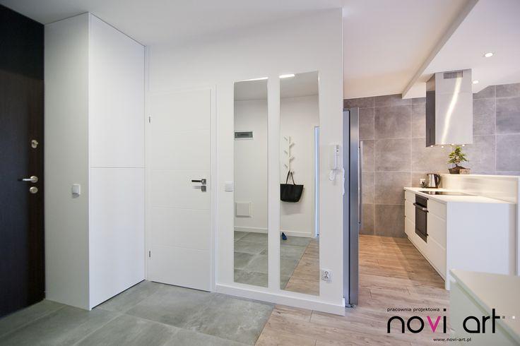 Novi art - , projekt wnętrza, nowoczesne wnetrze, szarości, drewno, beton, minimal interior design