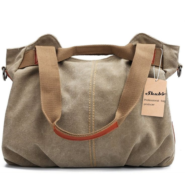 """Shubb Women's Canvas Daily Purse Hobo Shoulder Bag Handbag Khaki. 15.75""""L x 12.99""""H x 4.72"""" W Please allow 1-2CM Difference. Material: High quality canvas and Man-made leather(strap) Cotton cloth(Inner part). With removable and adjustable bag belt. Many different size pouch for different storage need. Hand wash better."""