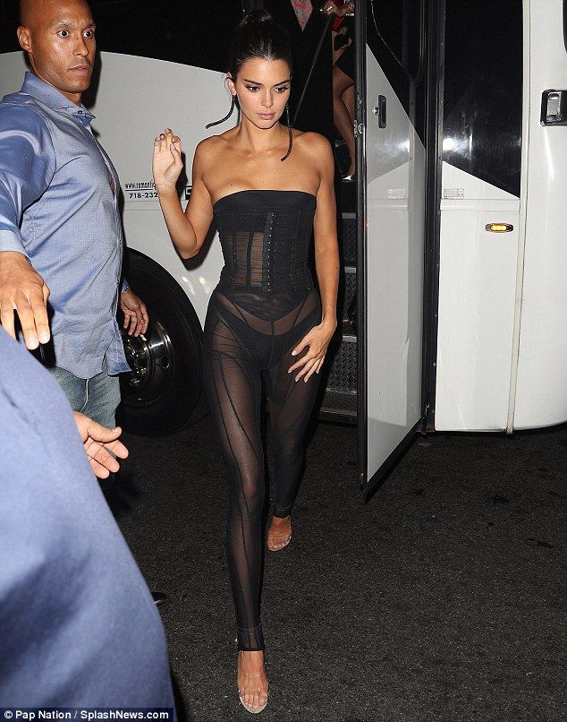 b0703473c45 Kendall Jenner flashes her underwear at Harper s Bazaar ICONS afterparty at  1 OAK