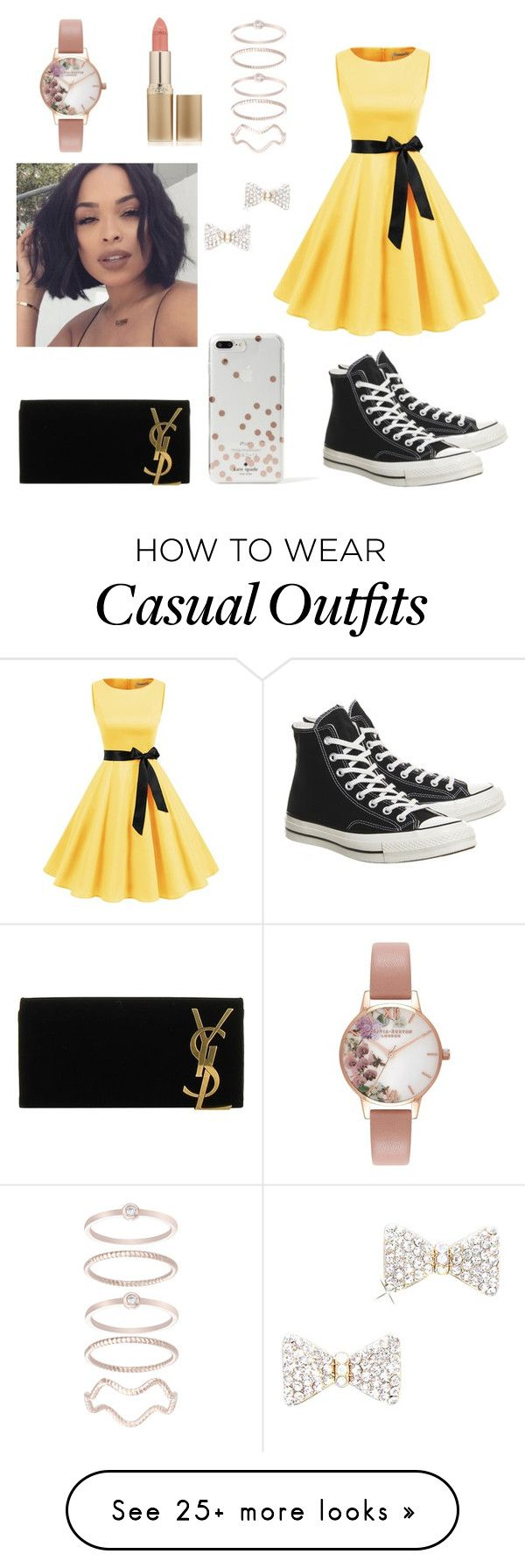 """""""Casual Dress"""" by maddymoss10 on Polyvore featuring Converse, Yves Saint Laurent, Kate Spade, Olivia Burton, L'Oréal Paris and Mia Sarine"""