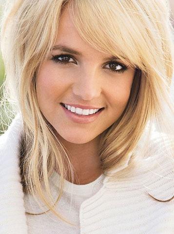 Britney Spears side swept bangs