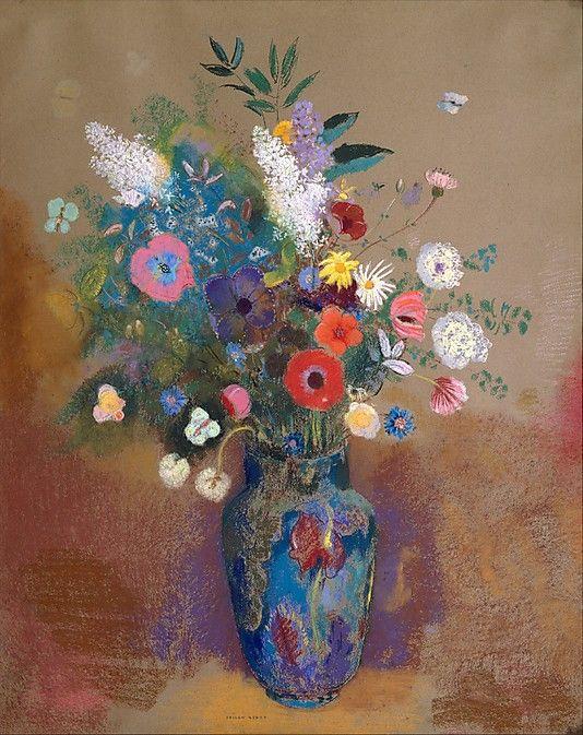 Odilon Redon - Bouquet of Flowers - Pastel on Paper, 1905.