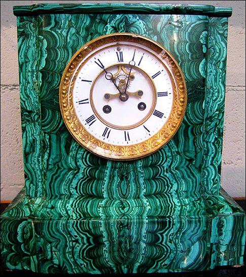 Malachite clock at Evergreen Antiques
