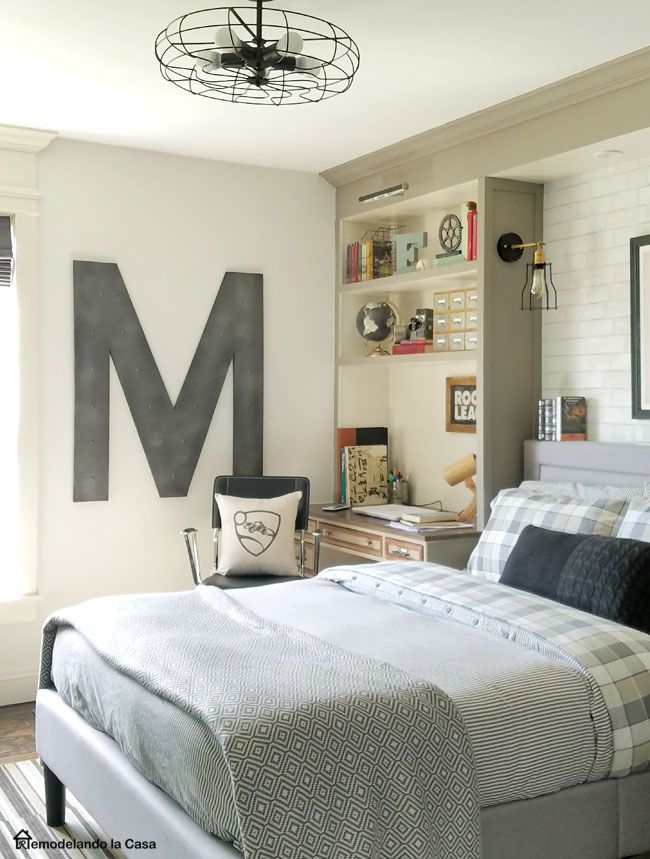 Teen boy room makeover - Vintage industrial decor