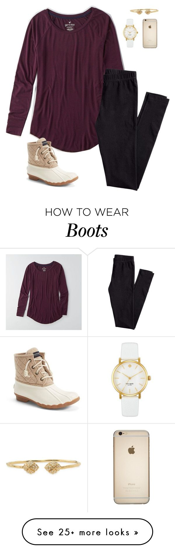 """Bean boots and maroon shirts"" by oliveee-heinzzz on Polyvore featuring American Eagle Outfitters, H&M, Sperry Top-Sider, Stella & Dot and Kate Spade"