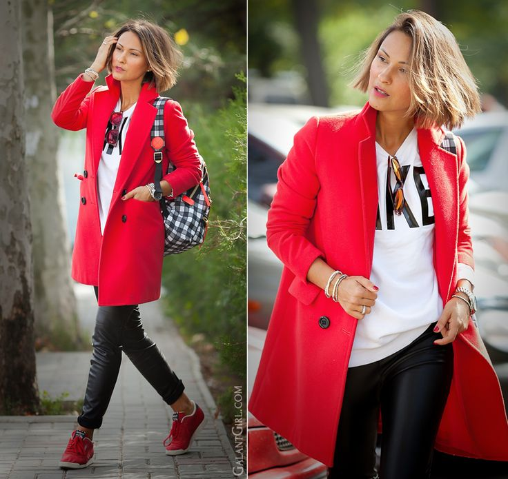 red coat and leather leggings on GalantGirl.com