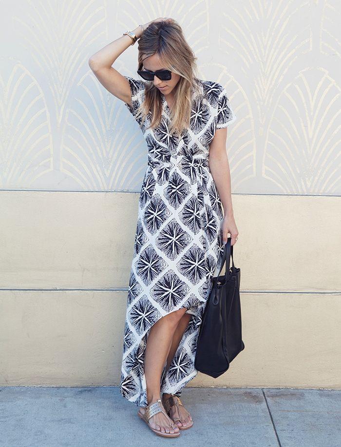 vestido de la impresión del extracto de verano con la bolsa de asas