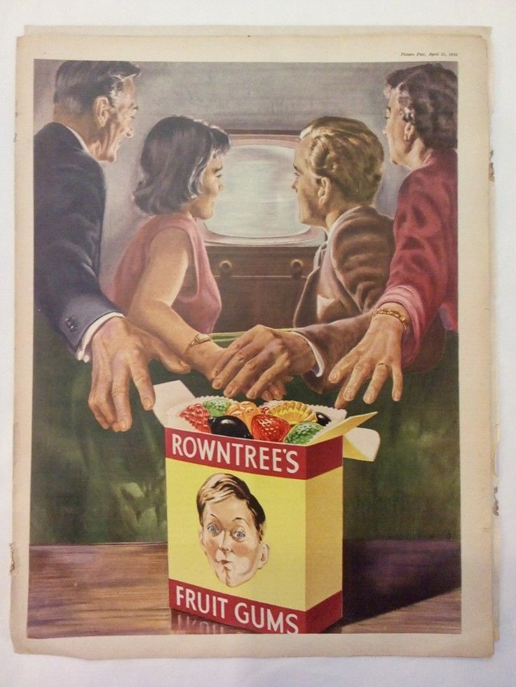 Vintage 1950s Magazine Advertising Poster Page - ROWNTREES FRUIT GUMS #5  | eBay