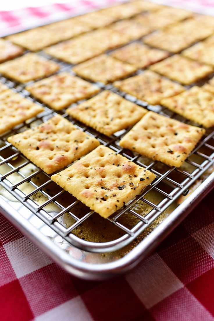 Seasoned Buttery Crackers! Perfect as a snack, with soup, or crumbled over a salad.