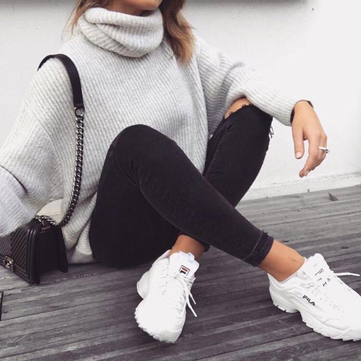REVOLVE – Lovers + Friends Del Mar Sweater – gray turtleneck – file sneakers – c…