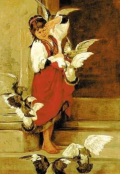 Το κορίτσι με τα περιστέρια - Πολυχρόνης Λεμπέσης / Lembesis Polychronis (1848-1913)