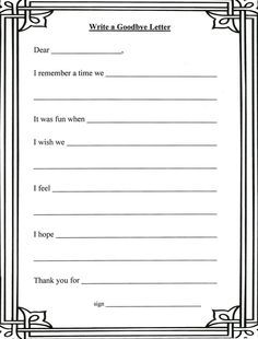 Grief And Loss Worksheets | Writing a letter to the person who has passed is a good tool to say ...