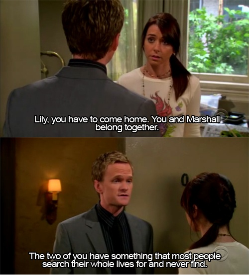 Barney is adorable. Also, I want a love like Marshall and Lily <3