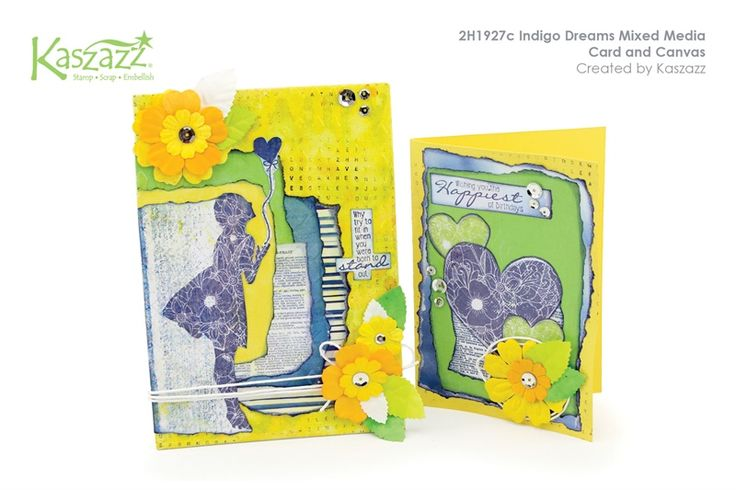 2H1927c Indigo Dreams Mixed Media Card and Canvas