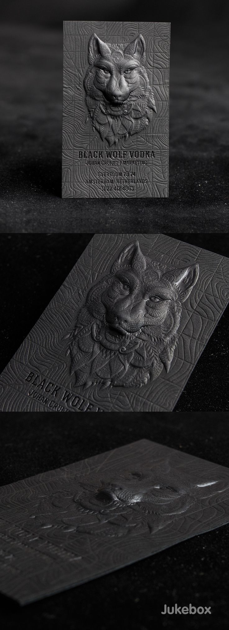 3D Embossed Premium Black Business Card on Behance. Jukebox Print.