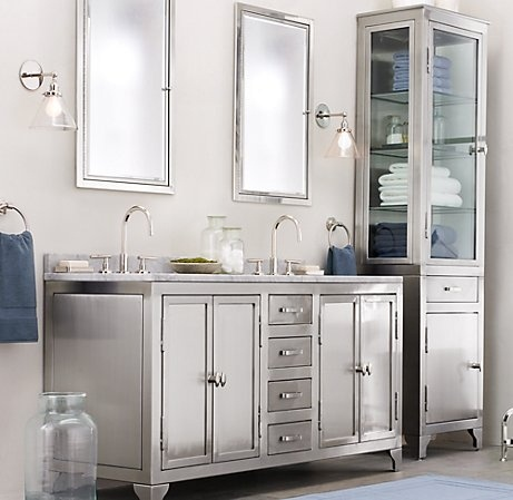 Metal painted bathroom cabinetry trend spotting heavy for Bathroom restoration ideas