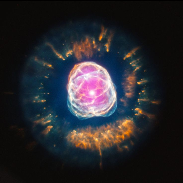 A beautiful end to a star's life. X-rays from the Chandra X-ray Observatory (pink) shows superheated gas around the dense, hot core of an aging star.