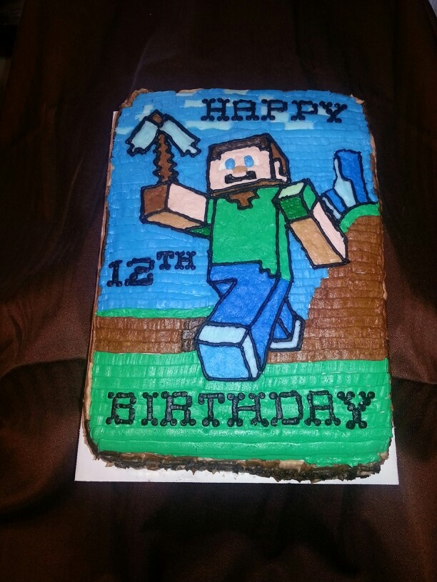 Minecraft Themed Cake By Copper Buttons Cake And Cookies