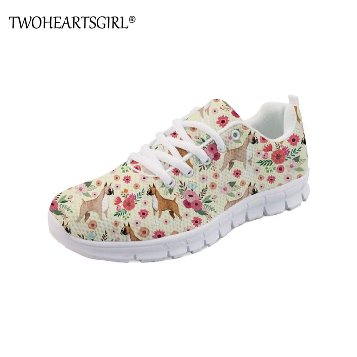 Twoheartsgirl Women Flats Shoes Classic Boxer Print Sneakers Female Breathable R…