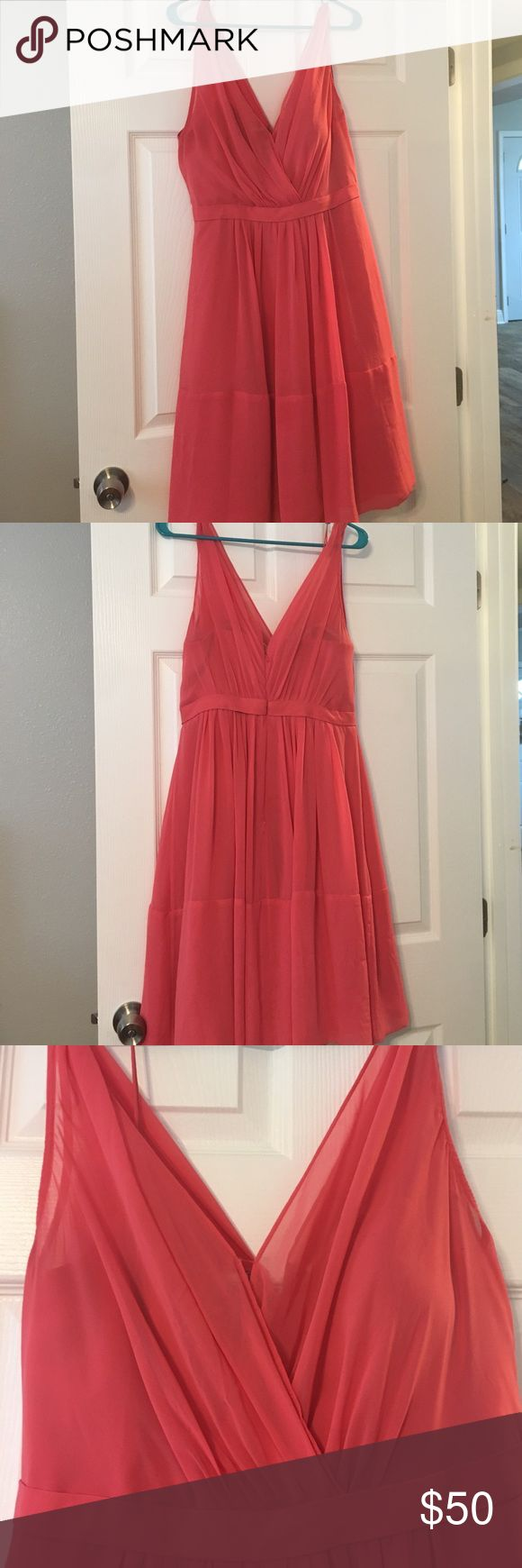 Watermelon pink Jenny Yoo party dress Semi-sheer, mid length, dress. Perfect for a bridesmaid dress, attending a wedding, or party. Has a built in petticoat and stay up lining. Jenny Yoo Dresses Midi