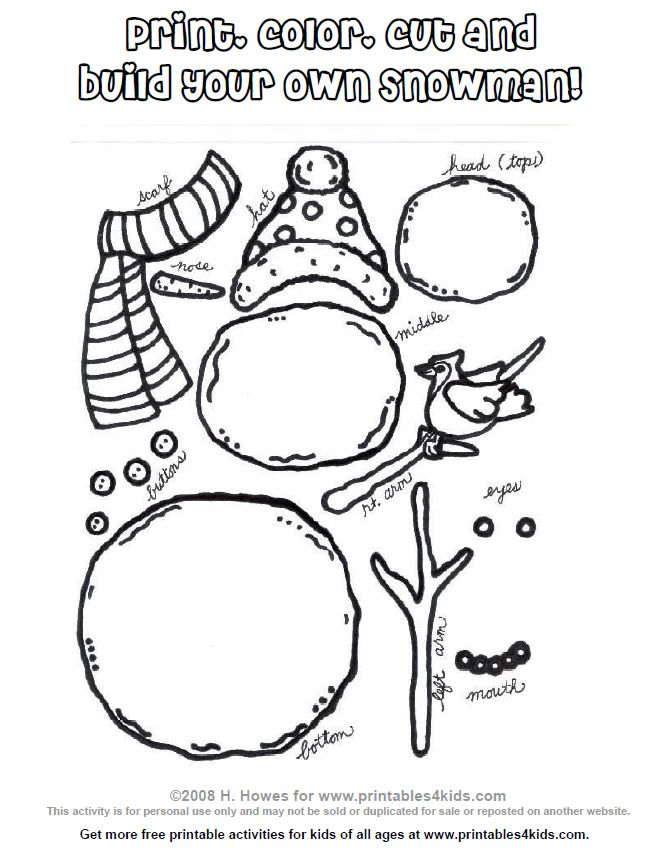Free printable that you can print, color, cut and build your own snowman. If you need fun indoor winter activities that are not Christmas related, this is fun