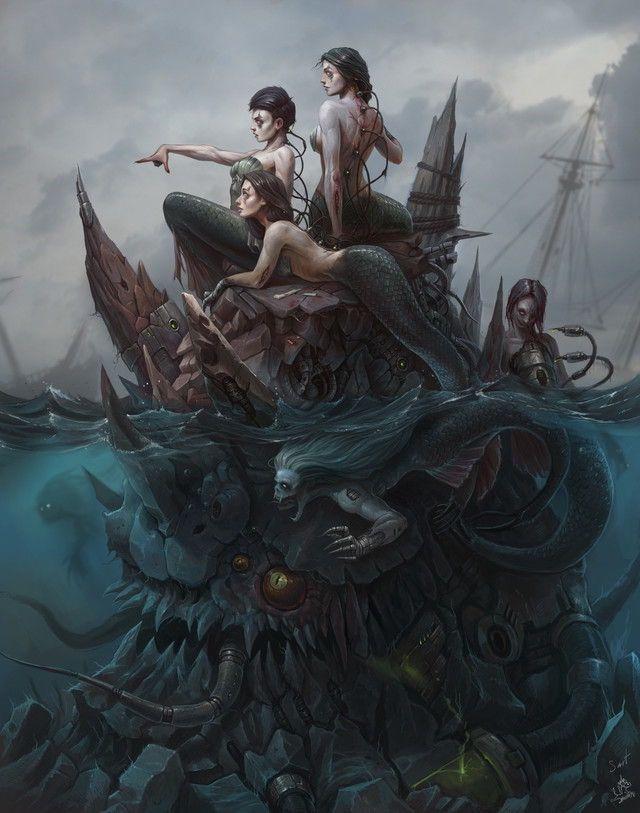 Creepy Mermaids Dark Fantasy Art Horror Art Mermaid Art