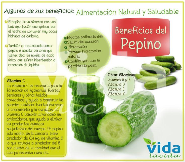 Beneficios del pepino: Ver más información sobre los beneficios de los alimentos en http://www.lavidalucida.com/search/label/Beneficios%20de%20alimentos