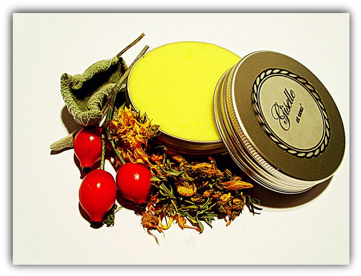 7 Herbal Body Balm / Herbal ingredients: erysipelas, marigold, wild sloes, rosehips, nut leaf, walnut leaf, sage  Other: spring water, jojoba oil, cocoa butter / 100% natural organic product / Giselle et Vous.
